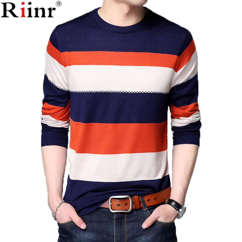 Riinr Sweater Men Shirt Clothing O-Neck Autumn Striped Plus-Size Casual New Homme Brand