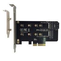 Dual M.2 PCIe Adapter M2 SSD NVME M Sleutel SATA gebaseerd B Sleutel pci e 3.0x4 Controller converter Card Ondersteuning 2280 2260 2242 2230-in Geheugenkaart van Computer & Kantoor op