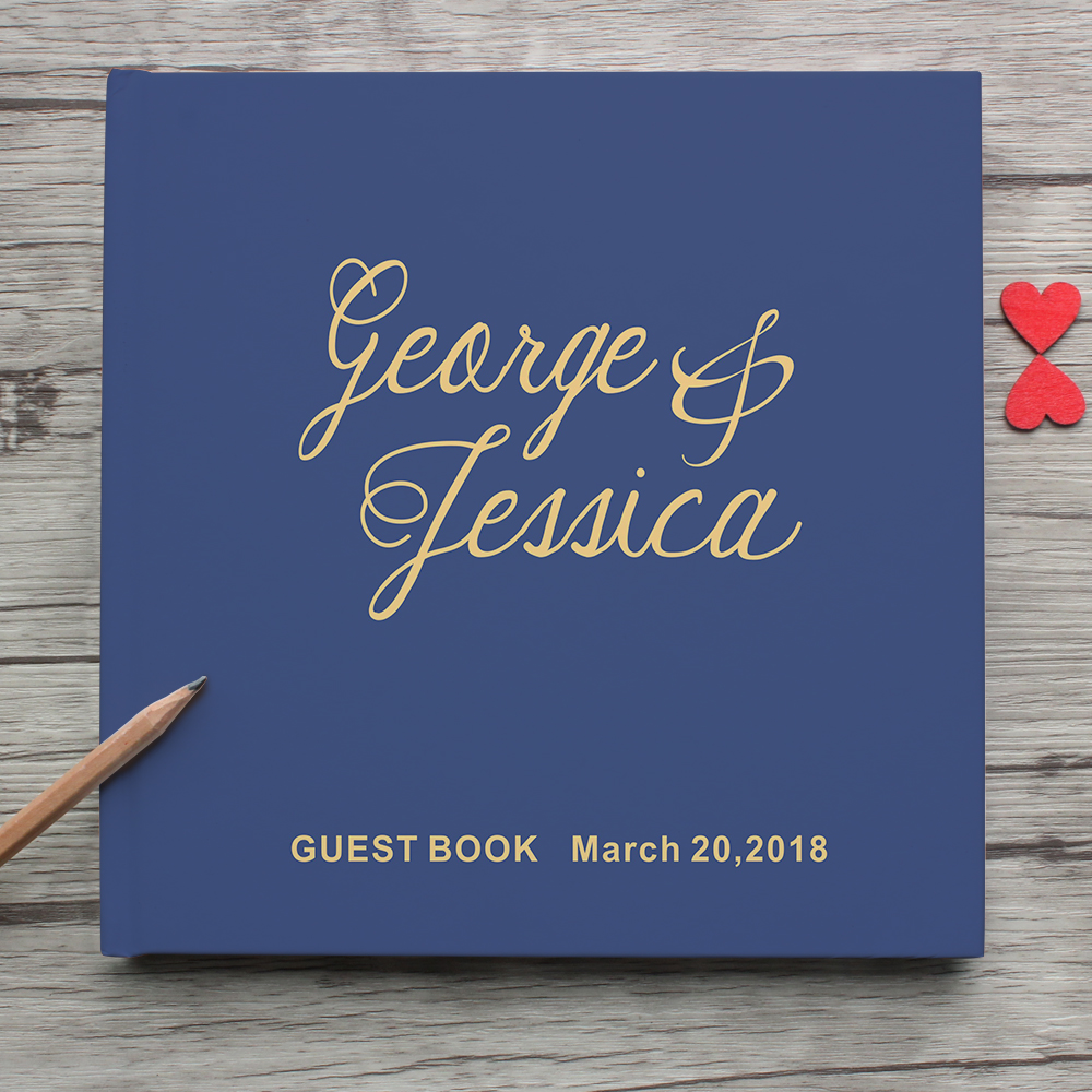 Blue Mr&Mrs Photo Album Personalized Wedding Guest Book Alternative,Bride And Groom Name And Date White Wedding Guest Book Sign