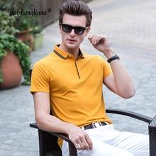 Baishanglinna Нові чоловіки Сорочка поло Одиниця кольору Повсякденна бавовняна сорочка з полосою Короткий рукав для дихання Сорочка поло з розміром s-xxxxl