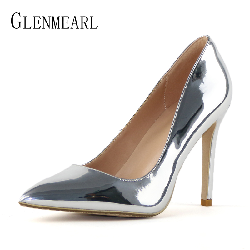 Women Pumps High Heels Shoes Pointed Toe Sexy Wedding Shoes Woman Spring Autumn Ladies Dress Shoe Gold Plus Size Female Pumps DE zjvi woman pointed toe thick high heels pumps 2018 women spring autumn lace up shoes ladies women s female nubuck casual pump