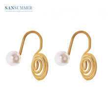 Sansummer New Hot Fashion Round Spiral Pearl Personality Clip Earrings Punk Simple Ear For Women Jewelry