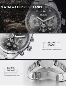 Image 5 - MEGIR Horloge Mannen Waterdichte Chronograaf Militaire Mannelijke Klok Top Brand Luxe Rvs Business Man Sport Polshorloge 2010