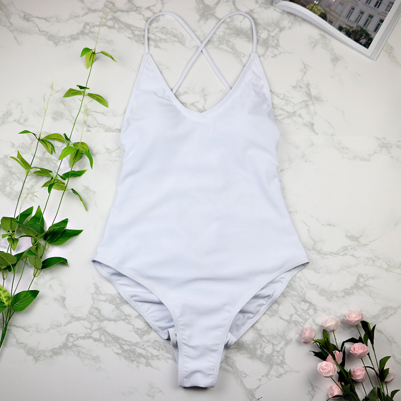 women Swimwear Sexy high cut one piece swimsuit Backless swim suit Black White