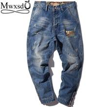 Mwxsd merk mannen Harem jeans broek kleine voeten mannelijke tij merk jeans heren jeugd Japanse losse broek plus size m 4xl