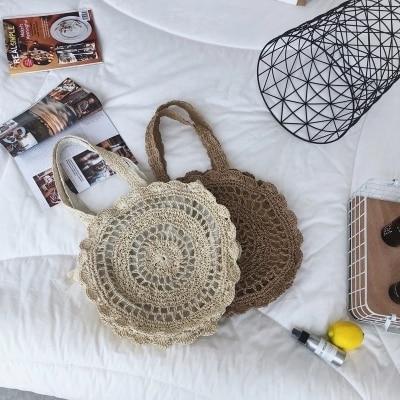 Bohemian Paper rope Straw Bags for Women Big Circle Beach Handbags Summer Vintage Rattan Bag Handmade Kintted Travel Bags 3