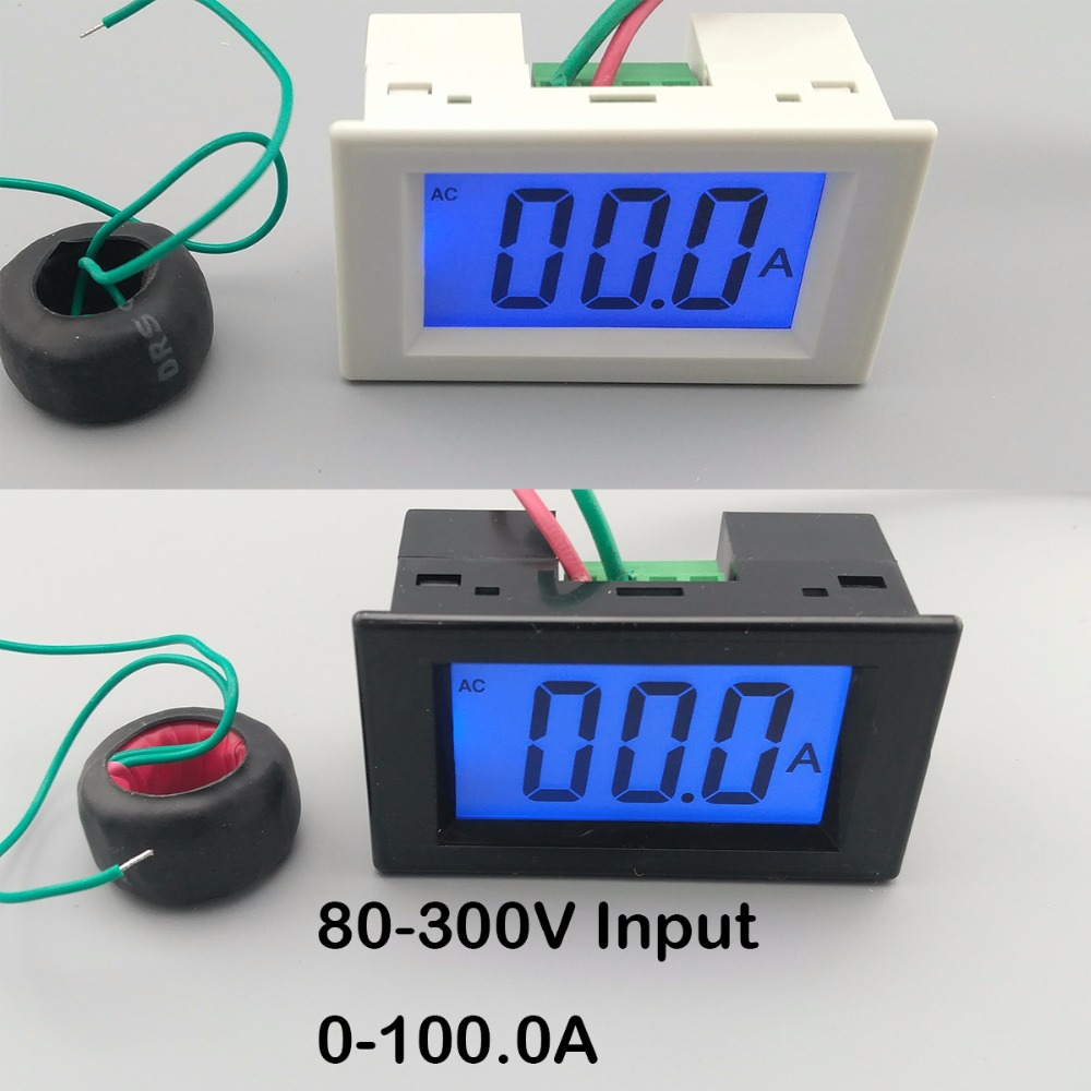 LCD display white and black ampere meter Ammeter range AC 0-100.0A Panel Monitor blue backlight 80-300V Inpute