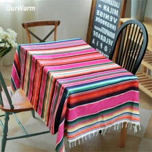 OurWarm 150X215cm Mexican Rectangular Tablecloth Party Decoration Cotton Table Cloth Blanket Fiesta Themed Decorations