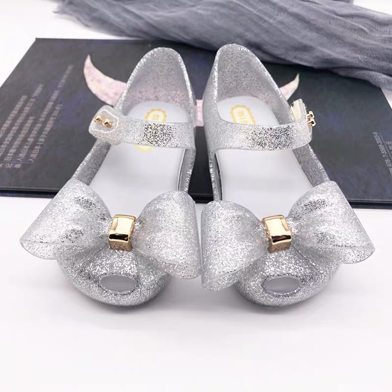Mini Melissa 2019 Summer Baby Girl Sandals Bowtie Children Shoes PVC Leather Small Kids Sandals Princess Girls Shoe