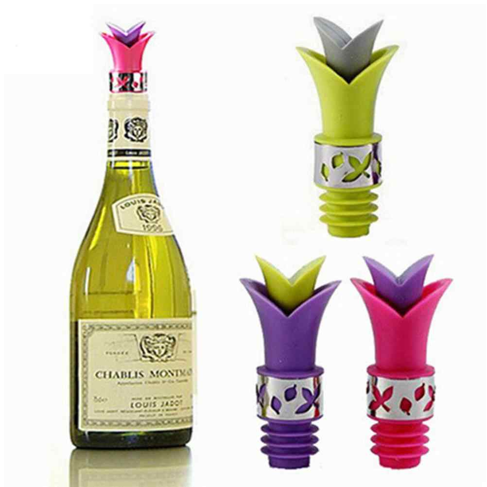ユリの花注ぎ口のシリコーンシールボトルキャップの色新鮮なワインボトル維持注ぎ口コルクトッパースパウトプラグキャップシール stoppeer