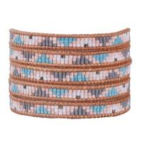 KELITCH Boho Summer Jewelry Natural Crystal Seed Beaded Bracelet Multilayers Wide Wrap Leather Bracelet Women Trendy Top Jewelry