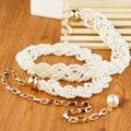 Gentlewomen perla cinturón trenzado tridimensional falda cadena de metal decoración de la cintura cinturón de diseñador de la correa de la cuerda