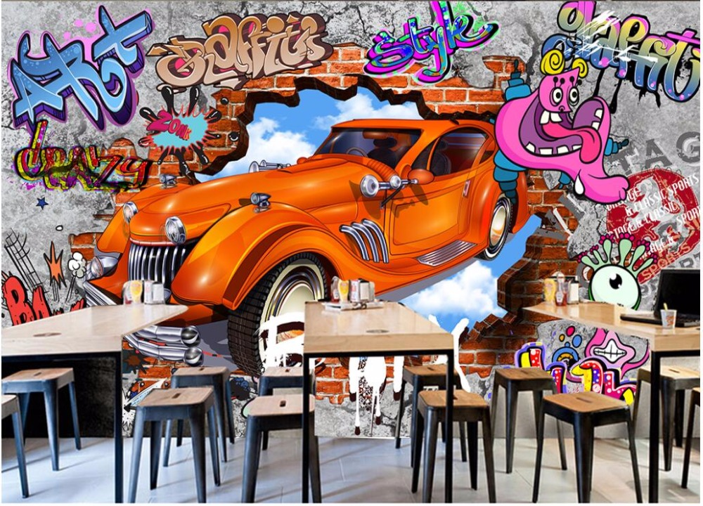 Custom mural 3d photo wallpaper Graffiti 3d brick wall car bar Background decor painting 3d wall murals wallpaper for walls 3 d 3d wall murals wallpaper for living room walls 3 d photo wallpaper sun water falls home decor picture custom mural painting