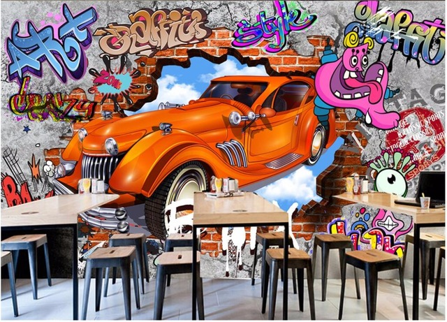 Custom mural 3d photo wallpaper Graffiti 3d brick wall car bar