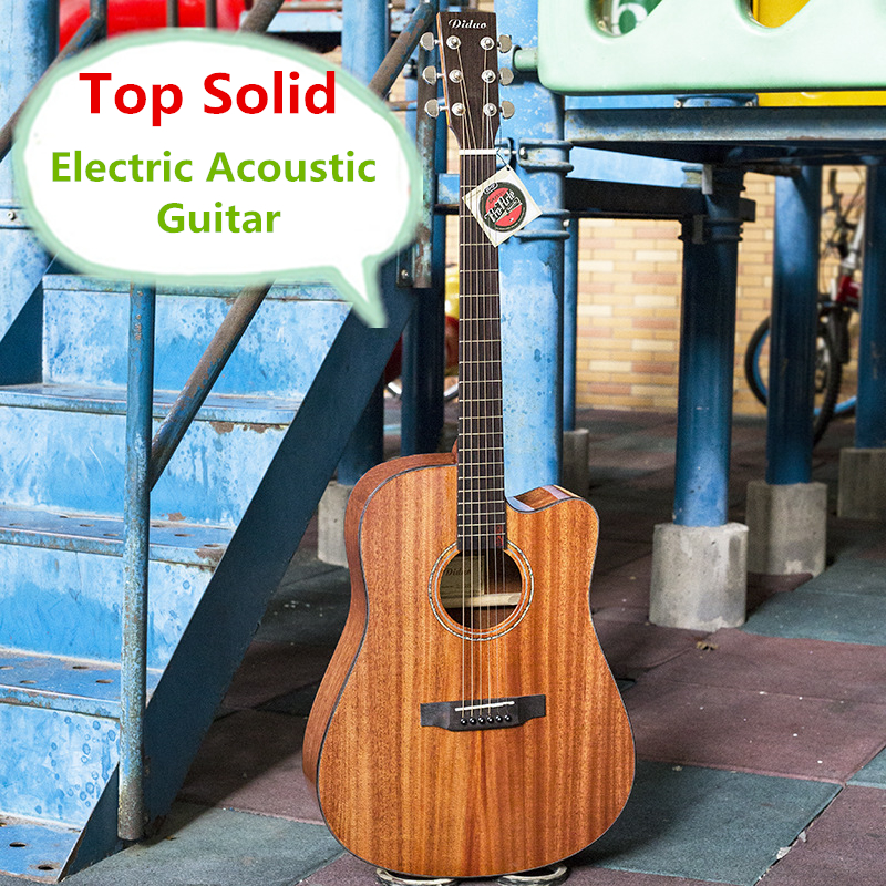 Electro Acoustic Electric Steel-String Flattop Guitar Top Solid Mahogany Dreadnought 41 Inch Guitarra 6 String Cutaway Light two way regulating lever acoustic classical electric guitar neck truss rod adjustment core guitar parts