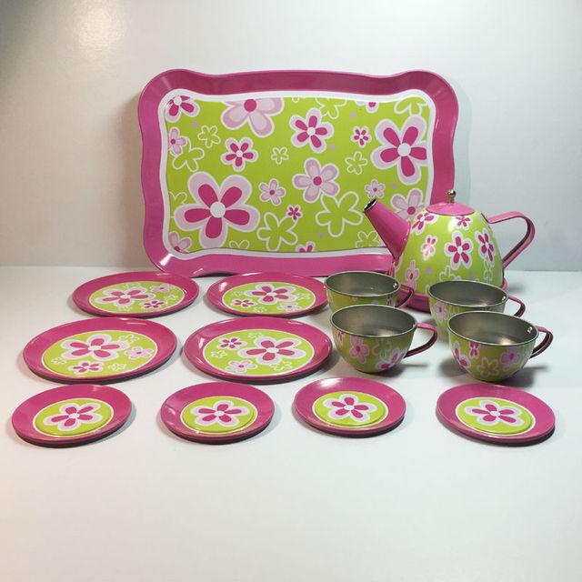 14pcs Lot Simulation Kitchen Tinplate Tea Set Colorful Stainless