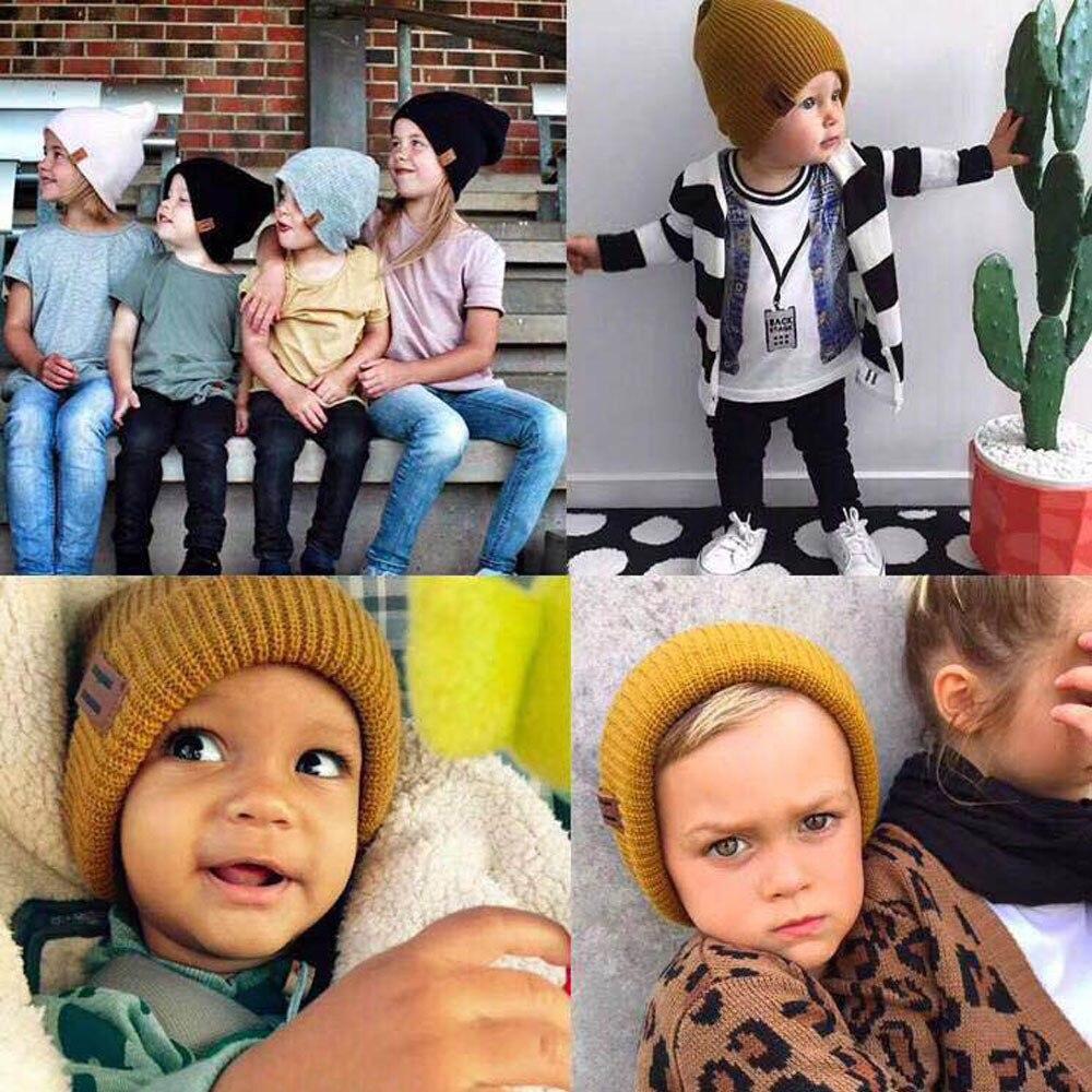 Einfach Winter Mädchen Hut Einfarbig Knited Wolle Kappe Kopfbedeckungen Hut Kind Kleinkind Zubehör Kinder Neugeborene Fotografie #5/22