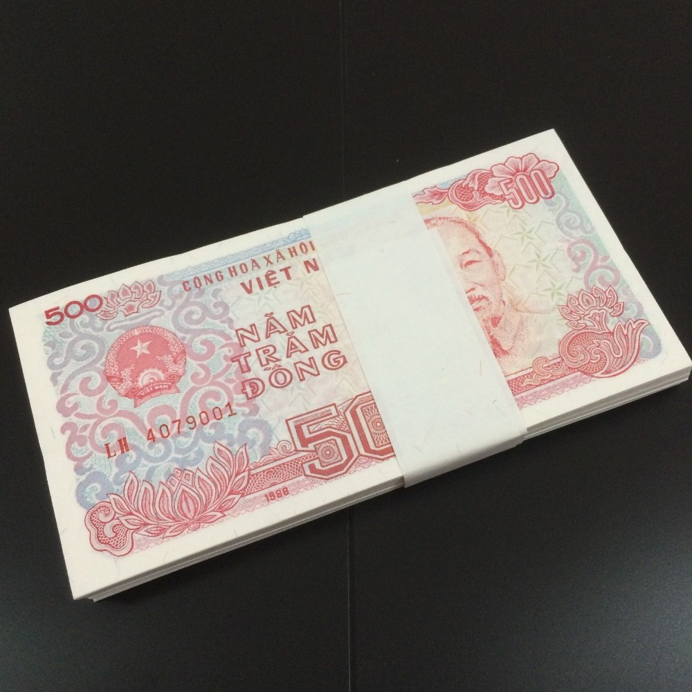Vietnam Full Bundle Lot 100 PCS Banknotes, 500 Dong,  1988, P-101 Pack,  UNC, Collection Gift, Original Real, Asian Paper Note