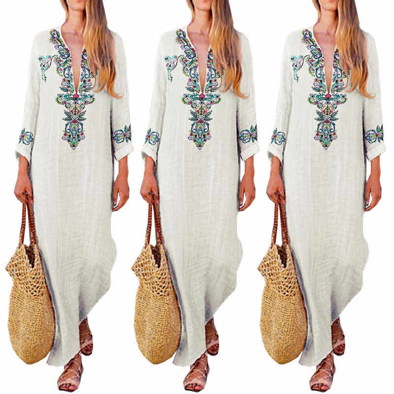 Women Cotton Linen Summer Dress Boho V-Neck Dress Floral Maxi Dress Hawaiian Travelling Beach Party Dress Casual Long Sundress