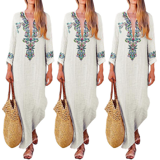 9d55fb4ceb3aa US $11.75 16% OFF|Women Cotton Linen Summer Dress Boho V Neck Dress Floral  Maxi Dress Hawaiian Travelling Beach Party Dress Casual Long Sundress-in ...