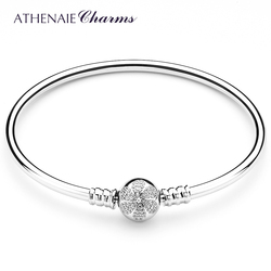 ATHENAIE 925 Sterling Silver Pave Clear CZ Daisies Flower Love Clasp Basic Charm Pandora Style Bracelet Bangle