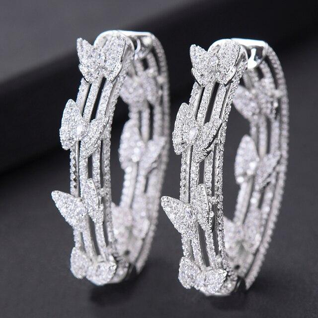 GODKI Luxury Butterfly Cubic Zircon Statement Big Hoop Earrings For Women Wedding DUBAI Bridal Round Circle Hoop Earrings 2019