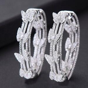 Image 1 - Женские серьги кольца GODKI, свадебные круглые серьги с бабочкой и кубическим цирконием, 2019