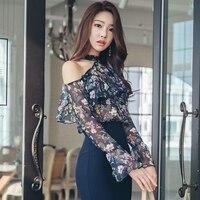 Новая мода с длинным рукавом без бретелек гофрированные Цветочные шифоновые рубашки блузка для женщин