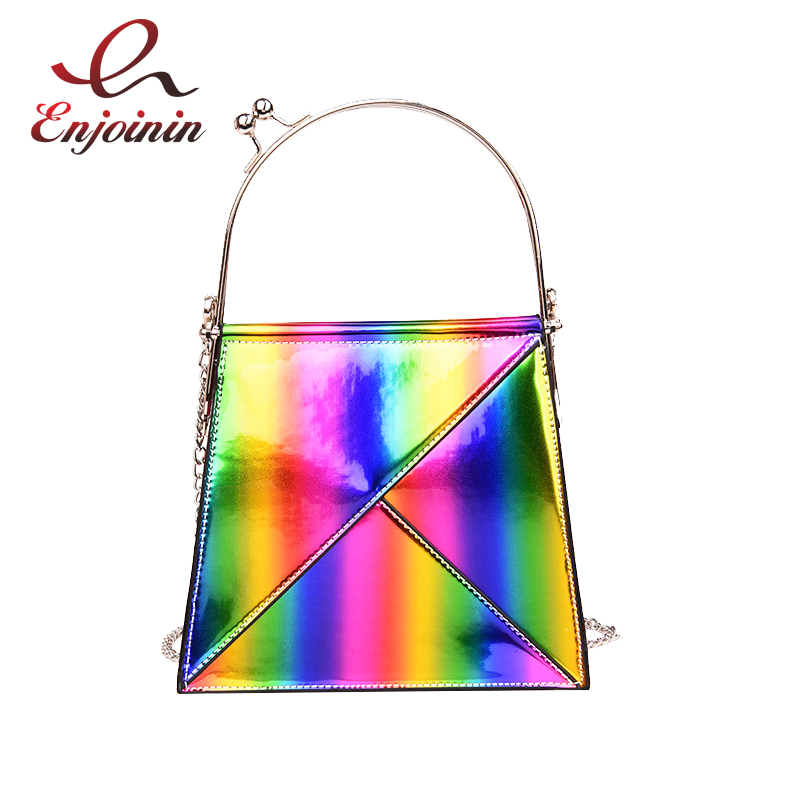 New Design Rainbow Gradient Color Pu Leather Metal Handle Womens Casual Totes Shoulder Bag Handbag Female Flap Chain Purse