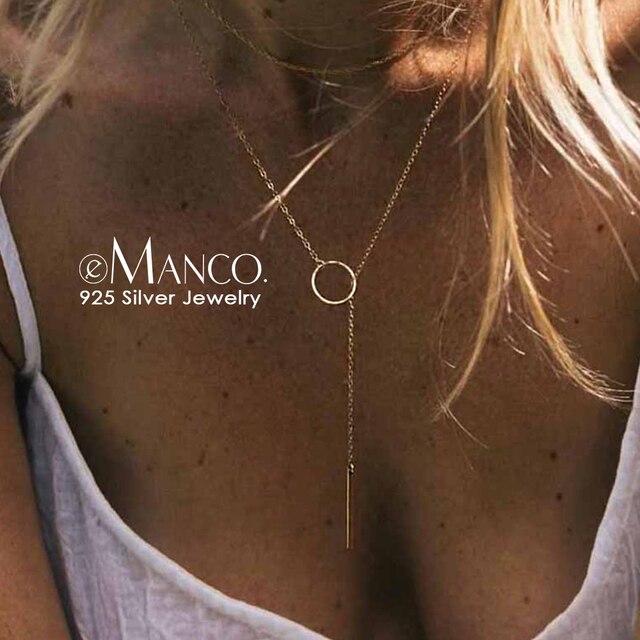 E-Manco Bạc 925 Mặt Dây Chuyền Dài Dính Đơn Giản Cổ Tối Giản & Lãng Mạn Thời Trang Mỹ Trang Sức Quà Tặng Cho Nữ