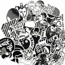 60 pics Black White Graffiti Label Stickers Home Decor Car Styling Decoration Wall Sticker Skateboard Laptop Bike Accessories 60mixed graffiti jdm stickers waterproof home decor doodle laptop motorcycle bike travel case decal car accessories car sticker