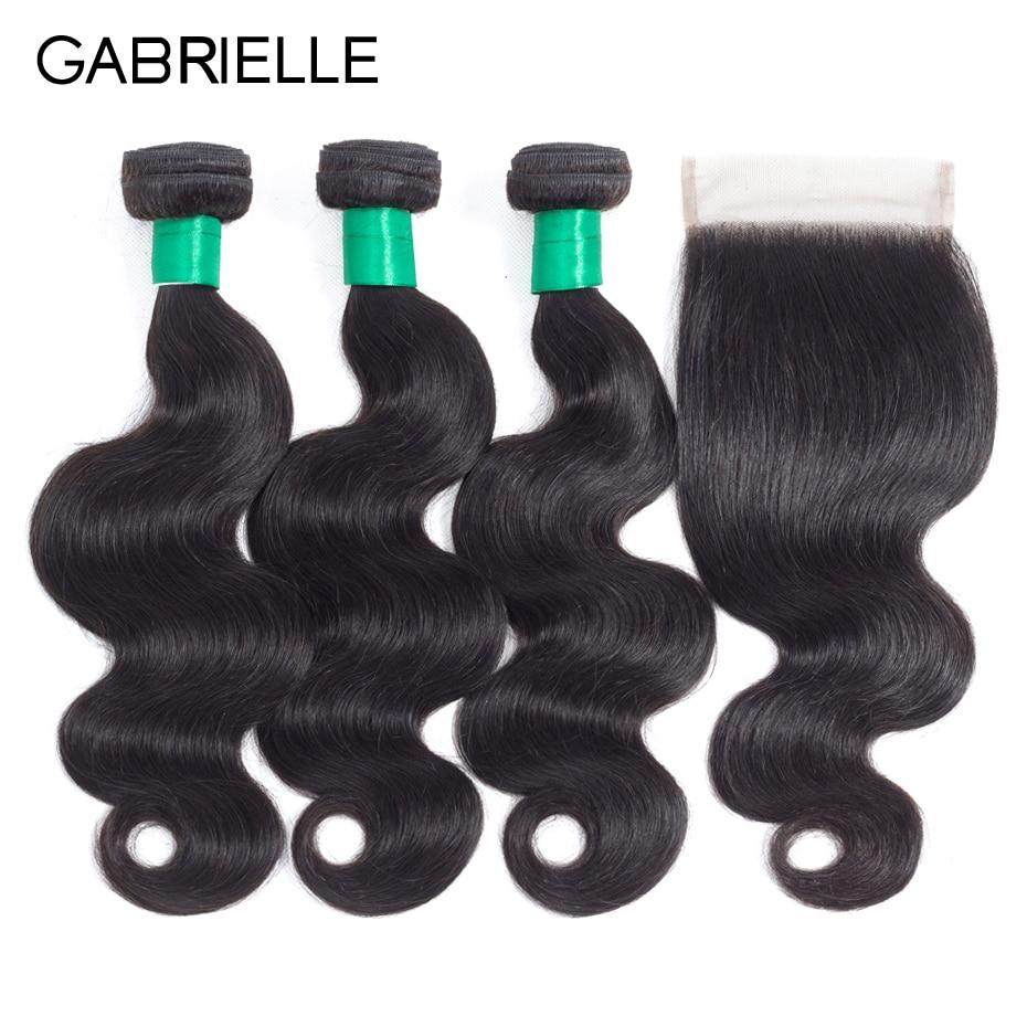 n4  Gabrielle Hair Brazilian Physique Wave Hair Three Bundles with Closure Pure Coloration 100% Non-remy Human Hair Weave Bundles With Closure HTB1lzEzfTqWBKNjSZFxq6ApLpXaO