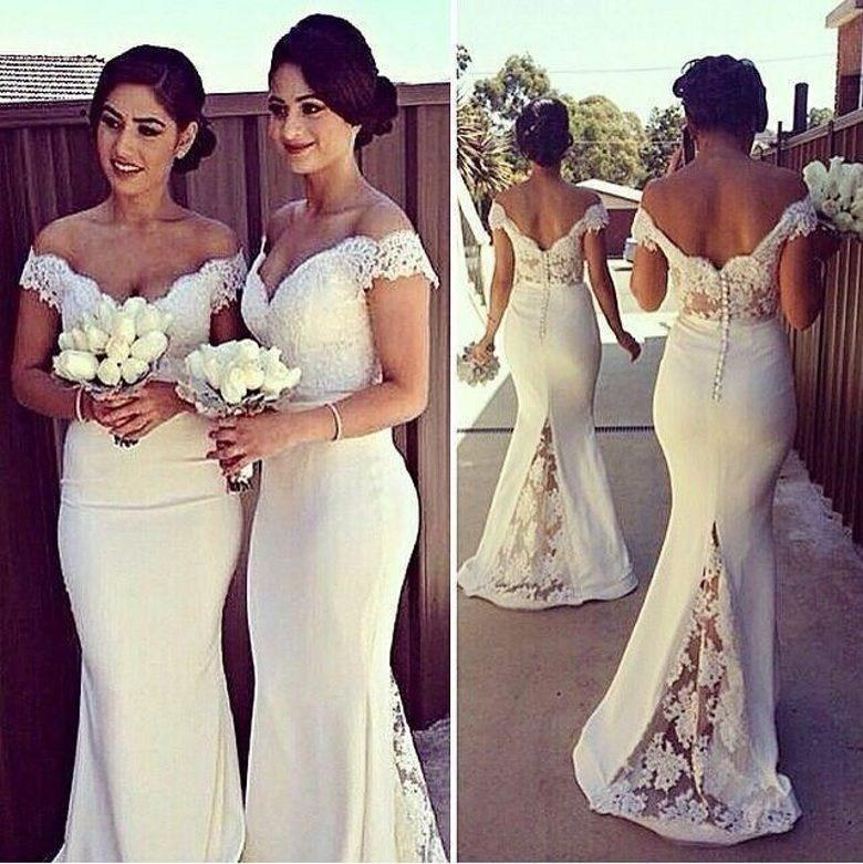 Backless 2019 Cheap   Bridesmaid     Dresses   Under 50 Mermaid Cap Sleeves Satin Lace Long Wedding Party   Dresses   For Women