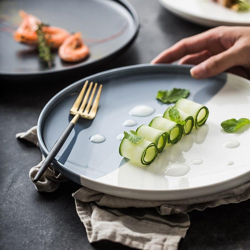 Plaque en céramique européenne solide couleur occidentale Pizza Table Restaurant cuisine vaisselle principale quatre couleurs en option