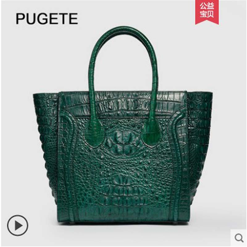 pugete Thai crocodile leather handbag for women with large capacity handbag for women with new fashion wing women handbag