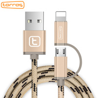 Torras Micro USB Cable 2 In 1 For IPhone 7 7 Plus 5 5S Fast Charger