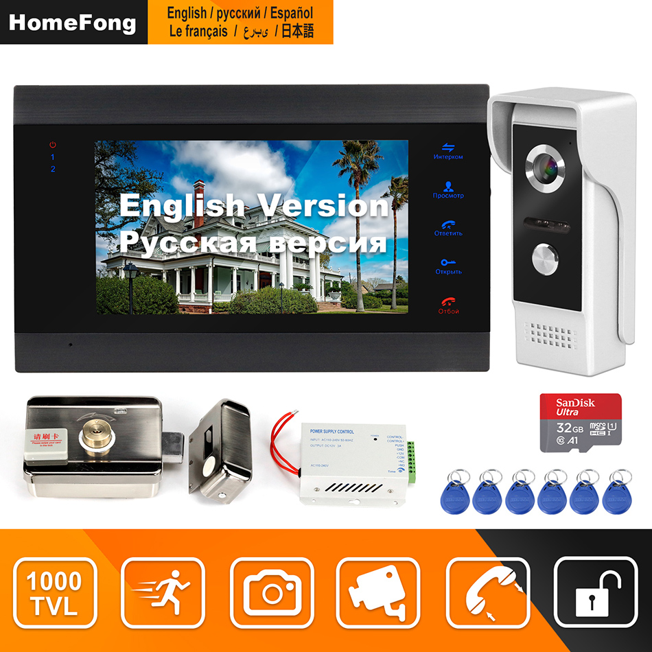 HomeFong Wired Video Intercom With Lock  Home Door Lock Intercom System  Support Motion Detect Recording 1000TVL Doorbell Camera