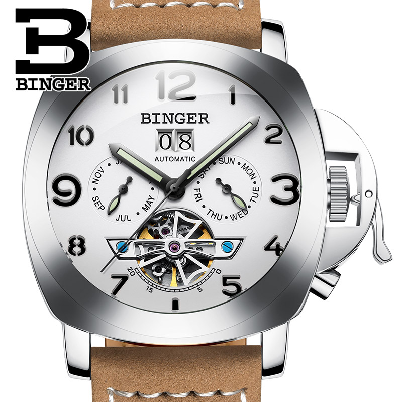 Switzerland luxury men s font b watch b font BINGER brand clock multifunctional font b military
