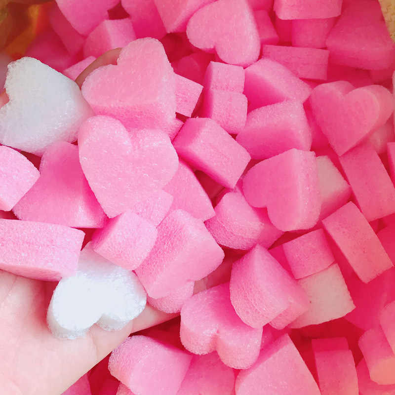 Fluffy Slime Filler Kids Sludge To Release Toy Soft Clay Mud Pink Heart Love Beads Foam Strip Slime Accessories DIY Material