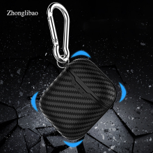 Soft Carbon Fiber Texture Silicone Case for Apple Airpods Hang Buckle Protector Cover Pouch for Air Pods Earphone Charger Box