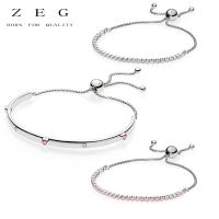 ZEG High Quality 100% Sliver Official Copy 1:1 Pan & Sparkling Strand Bracelet Have Logo Women Fashion Jewerly Free Mail