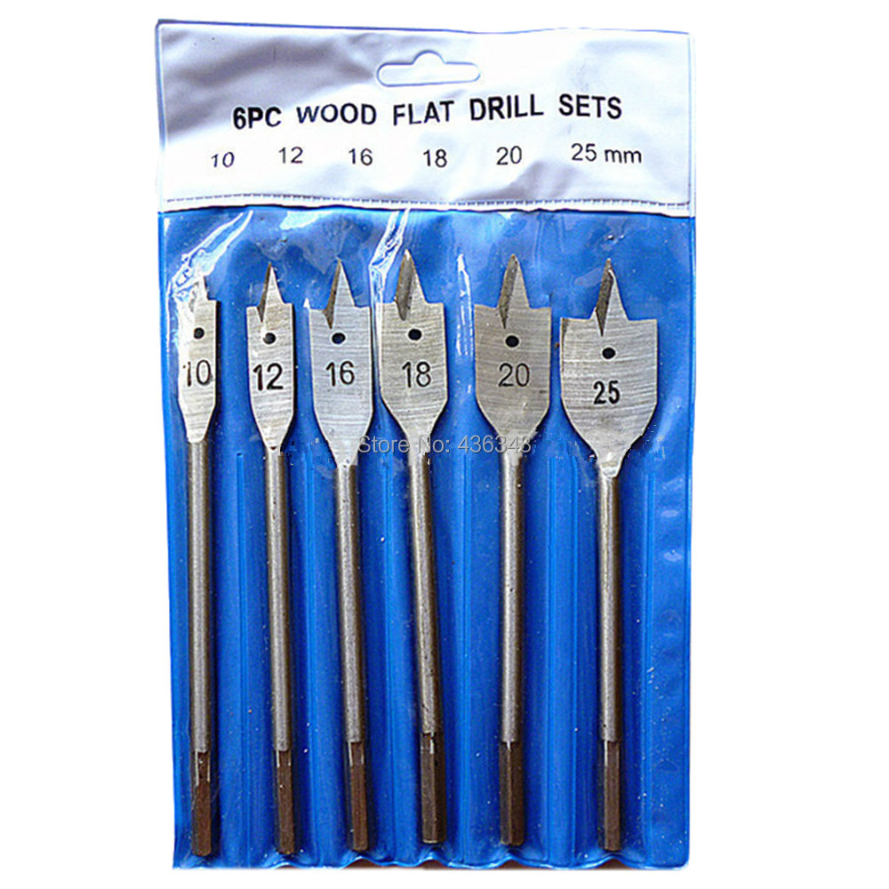 6pc Wood Flat Drill Sets 10mm 12mm 16mm 18mm 20mm 25mm Paddle Flat Wood Boring Drill Bit Set Power Tools With Hex Shank