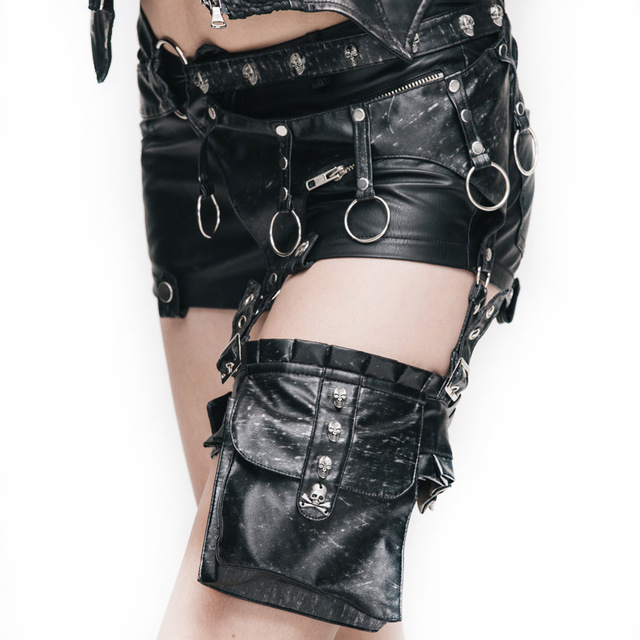 Devil Fashion Bags With Buckle Solid Black Waist Belt Bags With Skull Pockets Leather Waist Belt Package With Metal Loop AS01601