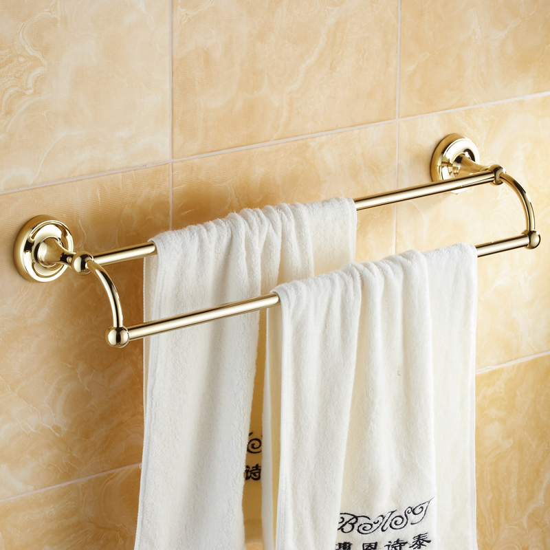Luxury Gold Towel Rack Antique Polished Double Layer Towel Bar Solid Brass Towel Holder Bathroom