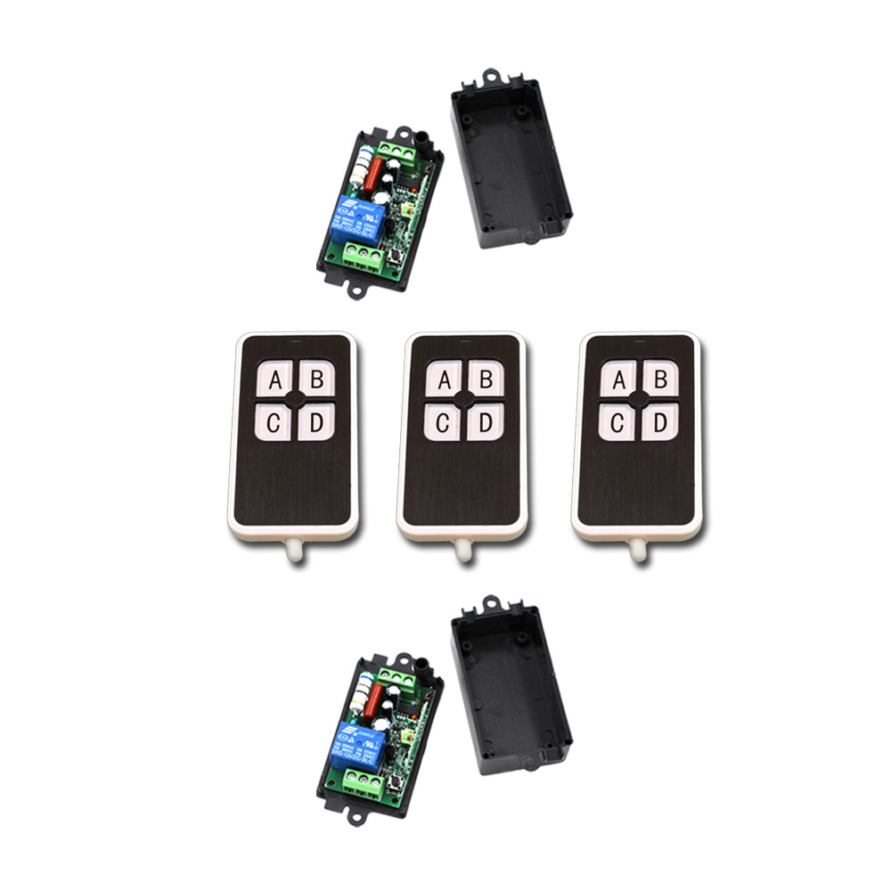 Burst Section AC110V 220V 1CH  RF Wireless Remote Control Switch System 3 X Transmitter + 2 X Receiver with Black Case 2pcs receiver transmitters with 2 dual button remote control wireless remote control switch led light lamp remote on off system
