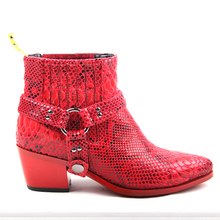 Fashion Snake Skin Pointy Toe Women Ankle Boots Python Print Chunky Heel Martin Grey Red Botas Mujer Slip On Cowboy boots