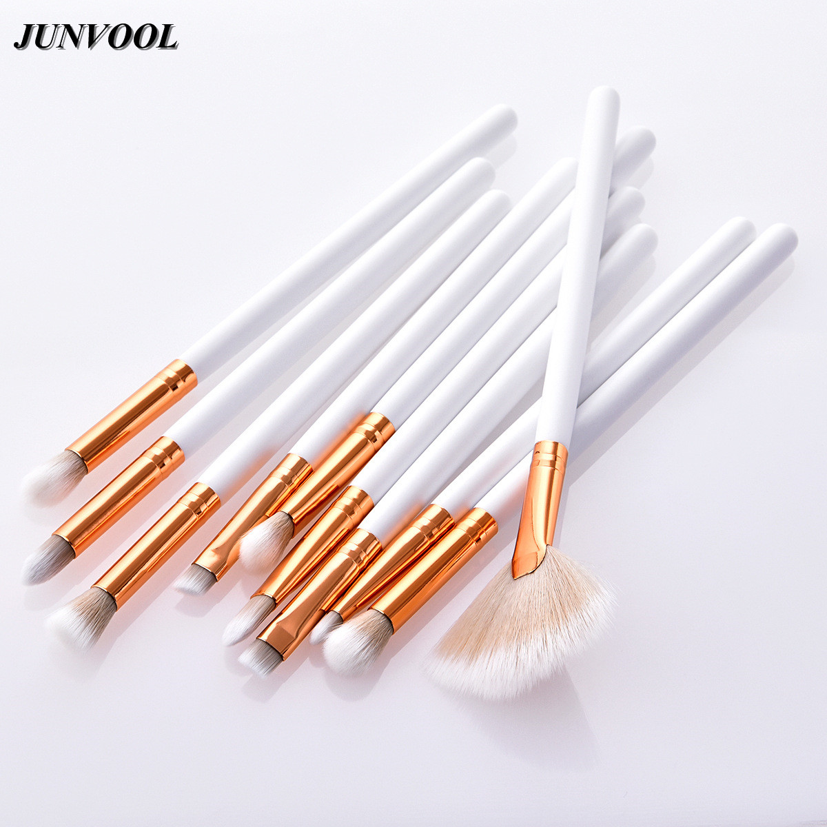 Eyeshadow Makeup Brushes Set 10Pcs White Gold Eyebrow Eyeliner Blush Contour Foundation Lip Cosmetic Beauty Make Up Fan Brush new store free shipping beauty and the beast rose gold makeup brush cosmetic brush woman gift eyeshadow contour concealer