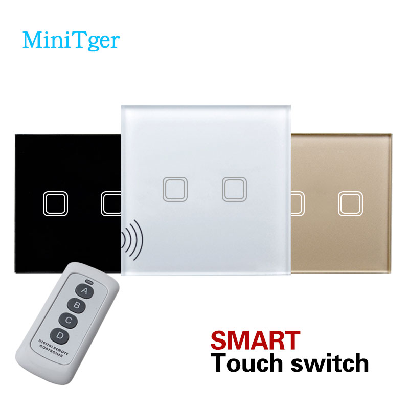 MiniTiger EU Standard Remote Control Switch 2 Gang 1 Way,Wireless remote control wall touch switch,Crystal Glass Switch Panel 2 gang 2 way wall light switch wireless remote control touch switch power for light crystal glass panel wall switch diy kit h3