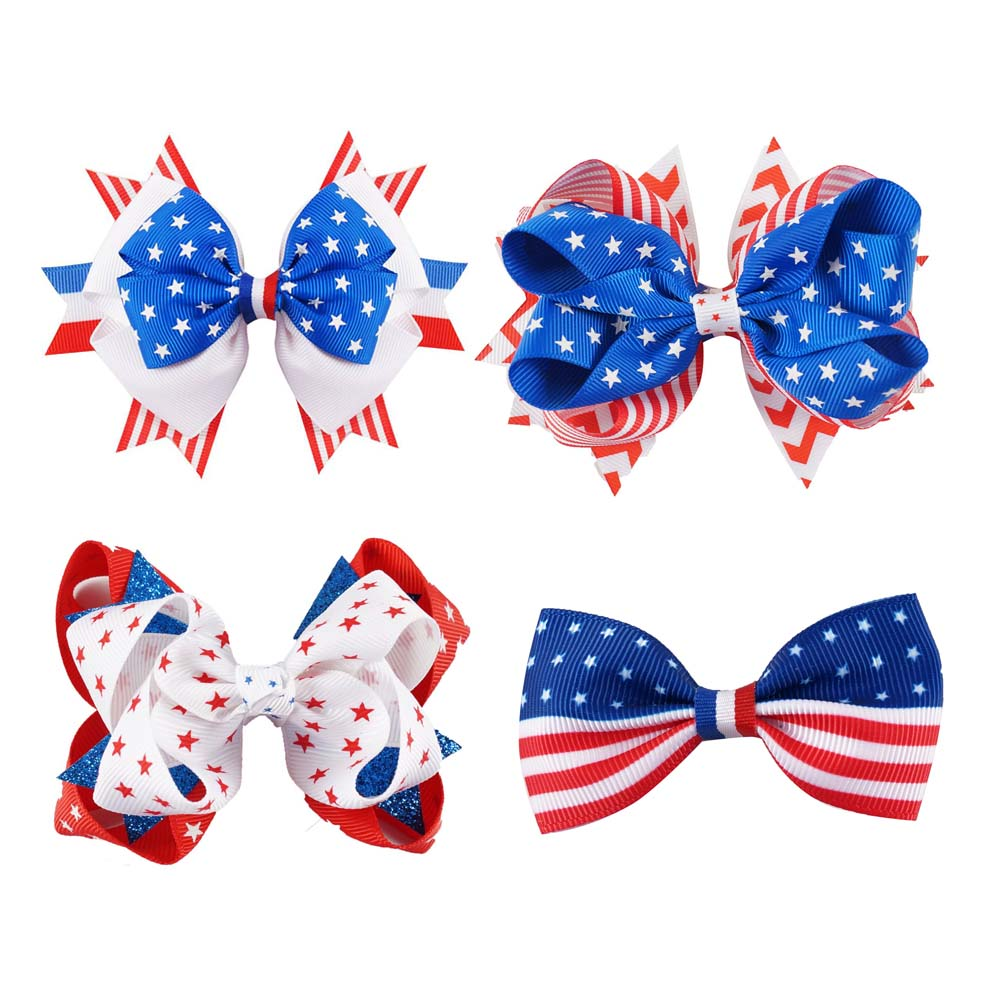10Pcs/lot 2.544.5 4th Of July Hair Bow With Clip For Girl Navy Red White HairBows Hair Pins Kids Hair Accessories free shipping 4 4 size 430c pernambuco cello bow high quality ebony frog with shield pattern white hair violin parts accessories