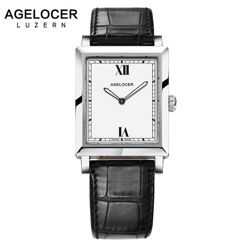 2017 Швейцарский Оригинал кварцевые Для женщин часы Agelcoer бренд часы Для женщин браслет часы сапфир часы Для женщин с Кожа Подарочная коробка